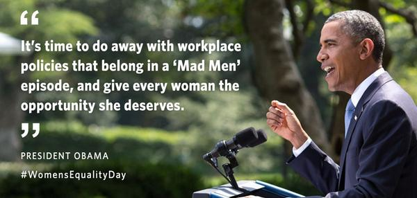 It's time to end workplace policies that belong in a Mad Men episode: http://t.co/05fNmIUVQb #WomensEqualityDay http://t.co/k1shOW1rtG