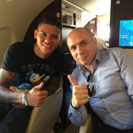 Marcos Rojo on his flight from Lisbon to Manchester to complete move to Manchester United. #MUFC http://t.co/u1GAwTLM2q