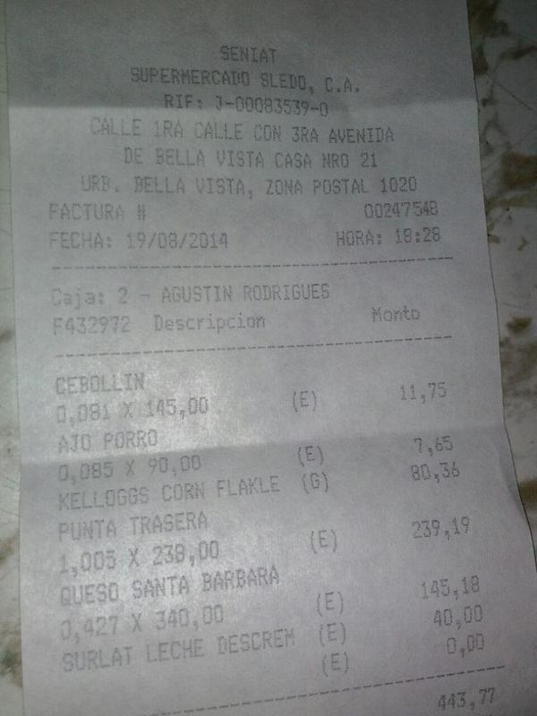 @jdavidcabello @sundde_ve @DanteRivasQ por favor revisar, Supermecado Sledo, C.A., RIF J-00083539-0, 1 kg carne 238Bs http://t.co/yVEzvI5g50