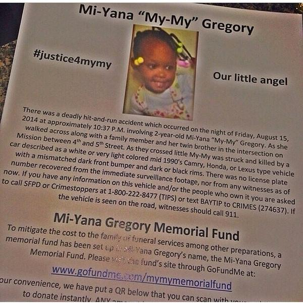 @BILLBELLAMY this 2 yr was killed in a hit and run in SF Bruh plz RT to help bury her http://t.co/rGWljjj6Fo http://t.co/PqL5i9ZQQK