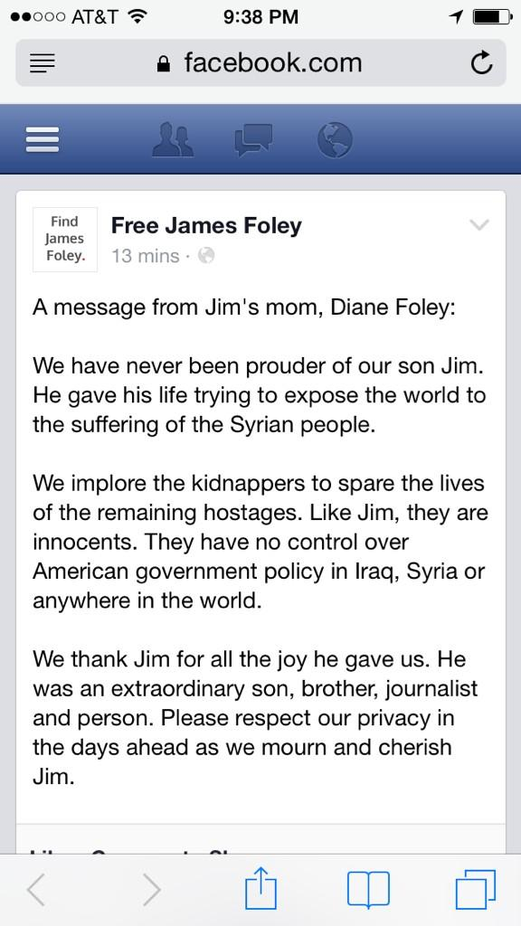 Gio Benitez (@GioBenitez): James Foley's mom posts a message on Facebook: http://t.co/OzDue7U6bZ