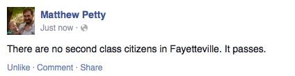 Alderman Petty's Facebook status about it passing #FairFayetteville http://t.co/RK6KYMLZTO