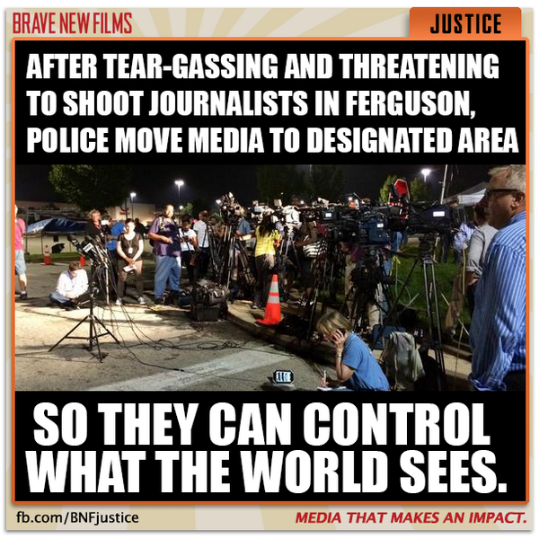 AGAIN: Police move media to designated area so they can control what the world sees. #Ferguson #PoliceState http://t.co/KoA8I2hbUN