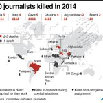 RT @scharlab: Syria, Iraq, Gaza, Ukraine, Afghanistan and Brazil—30 journalists killed on duty in 2014. [INFOGRAPHIC] https://t.co/11xWjzYknJ MT @AFP