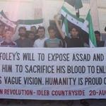 "RT @josephwillits: ""Humanity is proud of James"" - people of #Kafranbel, #Syria pay tribute to James Foley, murdered by #ISIS monsters http://t.co/HZrNY0aAjq"