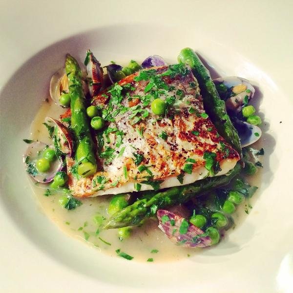 RT @SamsBrasserie: Beautiful hake dish with clams, asparagus & peas from @Rick_Stein's new fish book - going on our menu from next week htt…
