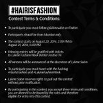 RT @LakmeSalon: Here are the Terms and Conditions for #HairIsFashion #contest! Best of Luck! #LakmeFashionWeek. http://t.co/Hu2FKNpXR3