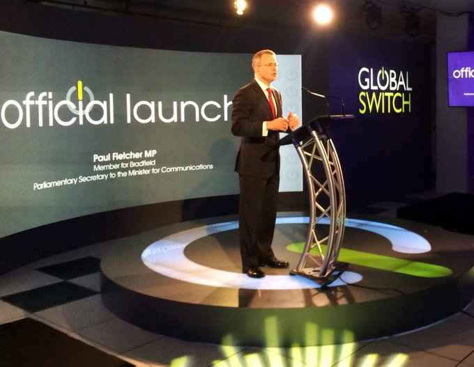 Speaking at the launch of the new $300m data centre in Ultimo built by Global Switch - 68,000 sq mtrs. #commsau http://t.co/uUdRCjzGjm