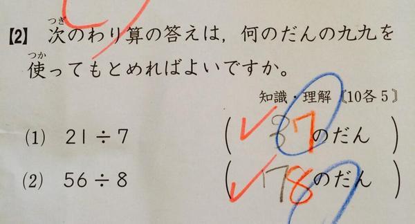 ナンセンスな採点ですね。 RT @mkp4xb7 @7takeuchi7 週刊新潮の「サイエンス宅配便」を読みました。『掛け算に順序はあるのか』ということですが、ネットで写真のような答案を見付けました。 http://t.co/gVo7vuqMhV