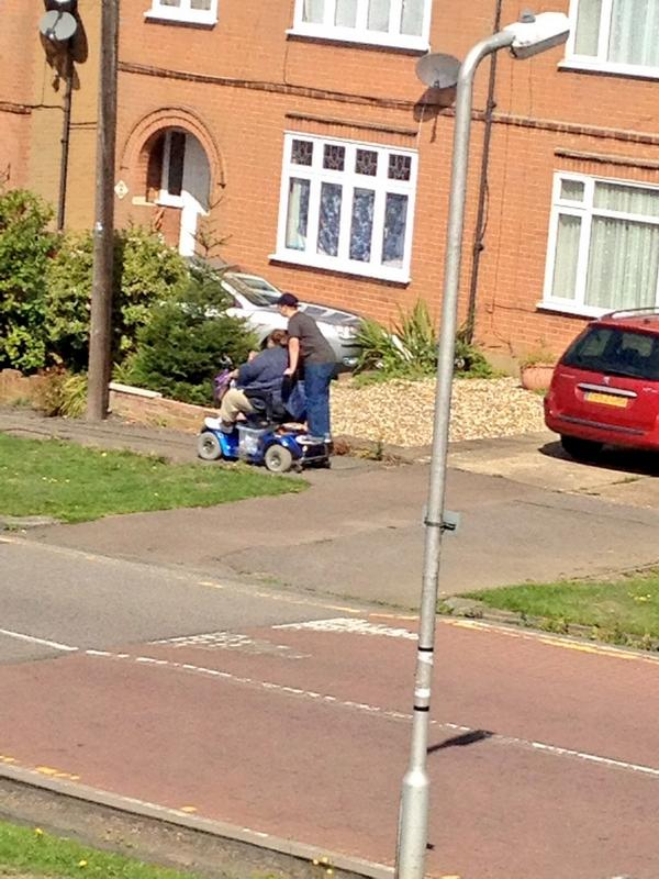 Just seen a boy doing his paper round on the back of his Nan's mobility scooter