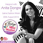 RT @MissMalini: Tune in for my @anitadongre G+ Hangout at 5pm @LakmeFashionWk Tweet me Qs to win ₹2,000 @KennethCole vouchers NOW! http://t.co/QQ94nRJ0w7