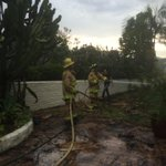 RT @DerekStaahlSD6: Lightning strike hit tree in Olivenhain, sending burning debris onto home. Homeowner battled w/garden hose @SanDiego6 http://t.co/oQIpydSGpg