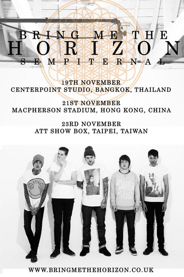 Excited! Bring Me The Horizon will be play in South East Asia this year on November! Indonesia?? http://t.co/yWtgO4fAlL