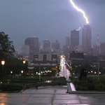 RT @rogerriley: Here is the #lightning strike on 801 Grand Des Moines #13now http://t.co/4D3bY9XyK3