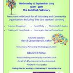 RT @WessexComAction: Salisburys BIG Community Day 17 September - follow the link for more details #SalisburyHour http://t.co/AxcyU6KuRD http://t.co/UzJlTfYm3A