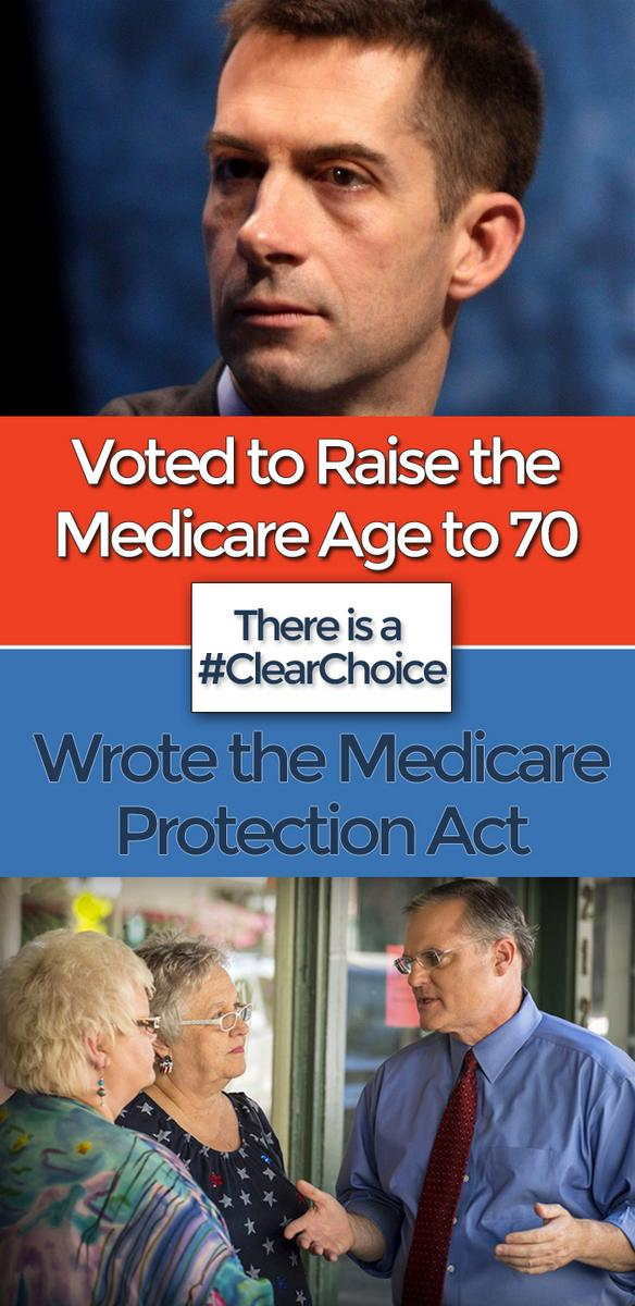 Raise Medicare age to 70 or protect Medicare? Tell Tom Cotton there is a #ClearChoice http://t.co/jeXR2jtmgK http://t.co/o4CHcop5iQ
