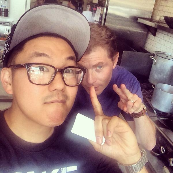 We were short on staff today #SeoulSausage so we had to bring in a #ringer haha thanks for always stopping by @bflay http://t.co/dl9F2WkfLP