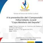 "¡MAÑANA! (10:30) Lanzamiento del I Torneo Infanto-Juvenil ""Copa Ministerio del Deporte"" en @ParqueSamanes #Guayaquil▶ http://t.co/j2BKhSCbRA"