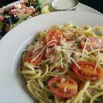 Smoked Salmon Pasta 16.99 Smoked Atlantic Salmon tossed w/linguini & fresh local tomatoes, basil cream sauce. W/salad http://t.co/BGbOWSm3OK
