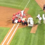 The scene at first base surrounding Angels pitcher Garrett Richards, left knee injury http://t.co/RsE1MQp13R