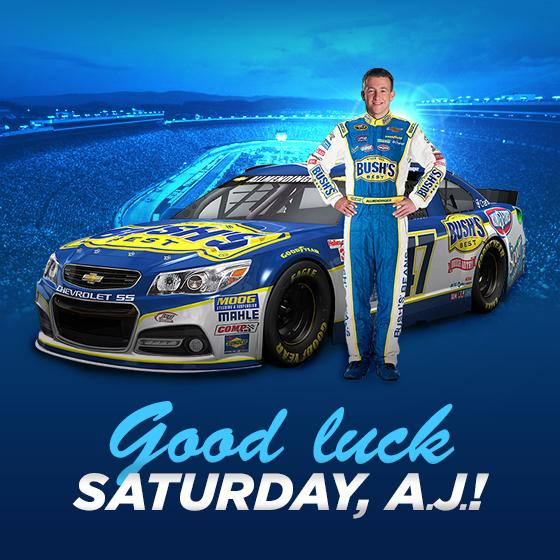 We can't wait for Saturday's race at @BMSupdates! Make sure you tweet @AJDinger and @NASCAR47 on to victory. #NASCAR http://t.co/z1bkzuAXz1