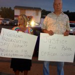 Chuck and Dawn offer anxious support for Officer Wilson on W. Florissant. Many gently say be careful. #Ferguson http://t.co/EbmPdq01Rd