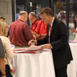 Coach Yeagley signs autographs at the #OnTheRoad stop at @LucasOilStadium in Indianapolis. #GoIU http://t.co/7JdbDlY6aA