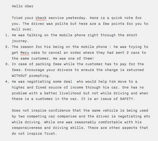 Hello @Uber_Delhi Tried your service. Some feedback for you that might interest @MeruCabs as well. http://t.co/cHBAuNY4LT