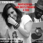 """#InfoDeDerniereMinute Vous êtes à Aix vendredi 22 août ? Repas-Concert à 20h au """"2 frères"""" (info sur laffiche) ???????? http://t.co/2UVhohPEJy"""