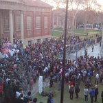 Big crowd on the steps of the Barr Smith Reading Room. Protesting cuts to education & welfare. #PMvisit http://t.co/c2CCreFmNW