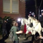 RT @9NewsAdel: Police on horseback have clashed with protesters at @UniofAdelaide while PM @TonyAbbottMHR speaks inside. #9Newscomau http://t.co/82tLgeTrQP