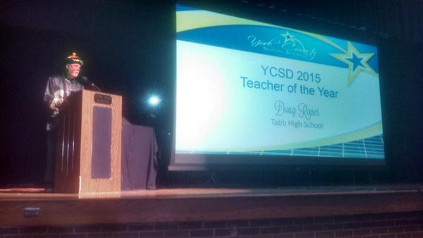 First the fabulous staff band ... now... A lovely reflection from the teacher of the year #toughactstofollow #ycsd15 http://t.co/4PIxgK9T6U