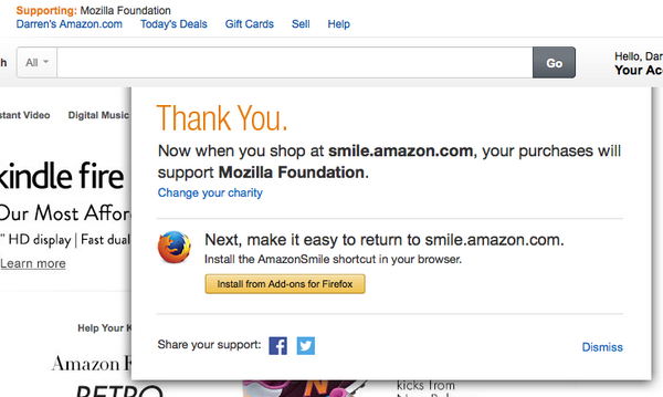 anyone else get asked what charity you want Amazon to donate to this morning?  I selected @mozilla http://t.co/7pkem9hjFj