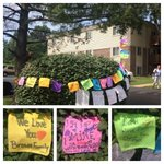 RT @Yamiche: Messages for #MichaelBrown have been strung on a bush nearby where he was shot. #Ferguson http://t.co/MEmaMLiDBN
