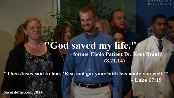 """""""#God saved my #life"""", said Dr. Kent Brantly, as he walked out of the hospital that...err...saved his life. #Atheism http://t.co/3VjSLAkwGl"""