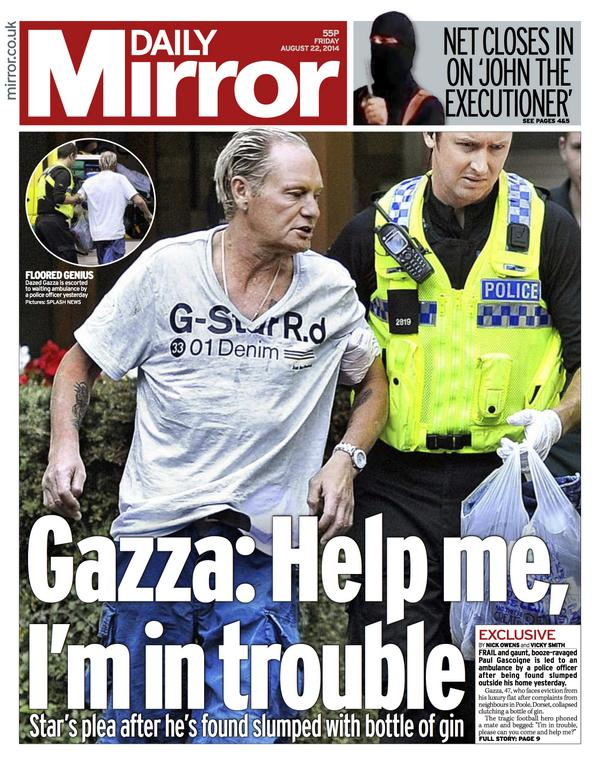 Bvl4GqoIgAAmkzd Saddending and disturbing pictures of Gazza as he returns to hospital for alcohol treatment