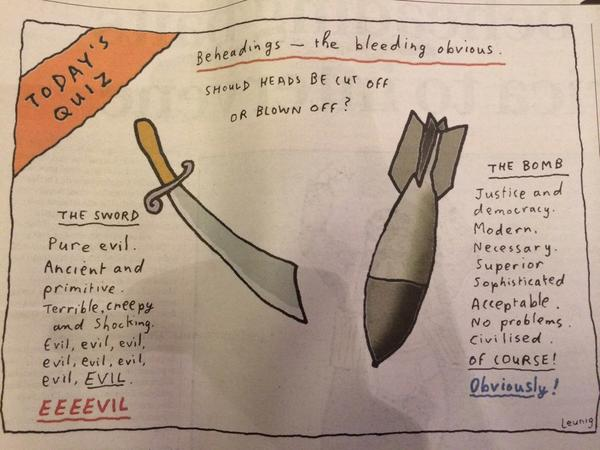 Bombs are just as barbaric as swords - Leunig via @theage http://t.co/x3609J4A2D