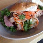 Banh mi, ham pate, grilled pork, pickles, kewpie mayo, on bolillo. #sujeo http://t.co/DdA1P6mXEs