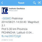 #Sismo #temblor #temblorquito #sismoQuito #Quito de 3.1 grados, según @igecuador @ECTV_Noticias http://t.co/oTNdaeIIR6