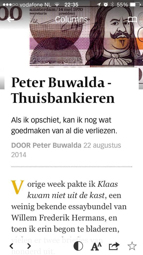 RT @PhRemarque: Peter Buwalda vindt twee briefjes van honderd gulden in een boek. Lees zijn column gratis in de Volkskrant Select app http://t.co/Wv9tjGALsU