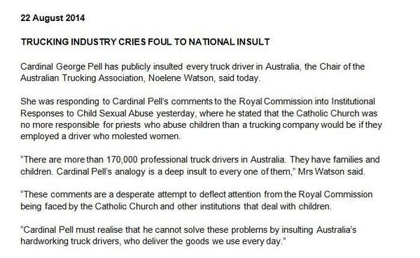@steveirons @TaodeHaas Pell's upset the Australian Trucking Assn https://t.co/VgWd7lM2ut