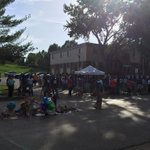 RT @AntonioFrench: Large, peaceful group down on Canfield right now at the site of #MikeBrowns death in #Ferguson. http://t.co/AJoBv4Jl7G