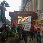 100 people in support of #Gaza at Hilton Hotel #Chicago, protesting IDF conference. #Chi4Gaza #Gaza via @daneyvilla http://t.co/snbkdIcdKC