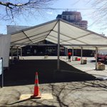 The marquee is up in Civic Square ready for #Hamilton150 public civic ceremony. See you at 10.30am on Sunday http://t.co/QTt17vmI6T