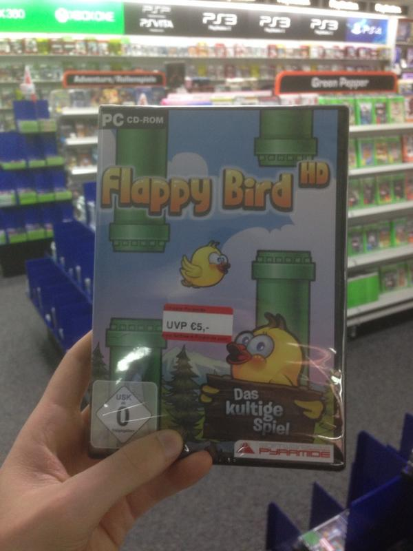You guys! Look at this amazing bargain I found in a store in Berlin! Flappy Bird HD for PC for only 5 Euro!! http://t.co/e4MVCCGK5P