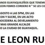 RT @JJOLMEDO_: A todo #Guayaquil y todos los q en vida confiaron en #LFC Leon Febres Cordero se los invita el 27/Agosto 17h00 http://t.co/TkihGtUBpV