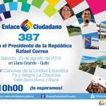 RT @MovSociales35: El #Enlace387 desde #Quito este sábado que nadie se quede fuera! @MashiRafael @dorissoliz @mashijuancarlos http://t.co/CUcVVLVlRL