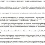"""UN Security Council strongly condemns ISILs """"heinous and cowardly murder"""" of James Foley: http://t.co/TbfvsVq1HP"""