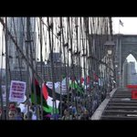 Watch: Huge pro-#BDS Palestinian flag unfurled on Manhattan Bridge http://t.co/9EqkdniikZ #Gaza #GazaUnderAttack http://t.co/TG3BN1gdrG