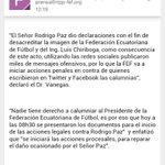 Acciones legales de Chiriboga contra Don R. Paz y las personas q en redes sociales hicieron calumnias. http://t.co/6CNkNYdWqE